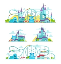 Magic castle roller coaster Amusement park vector
