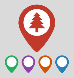 Marker location icon with tree on grey background vector