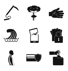 Misdeed icons set simple style vector