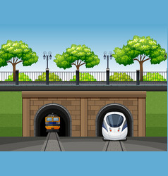 modern and classic train scene vector image