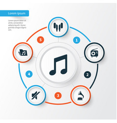 music icons set collection of dossier phonograph vector image