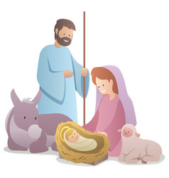 Nativity scene on white vector