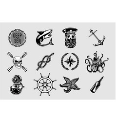 Nauitical icons set vintage marine signs vector