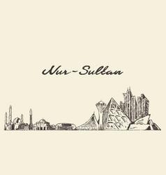 Nur-sultan astana skyline kazakhstan draw vector