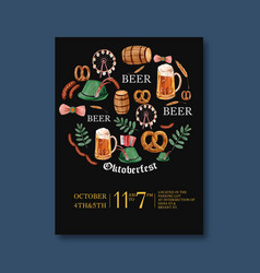 Oktoberfest poster with brewery cloth ferris vector