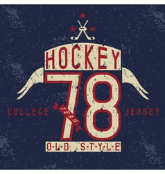 Old college vintage style print design with hockey vector
