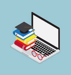 online education concept laptop with books and vector image