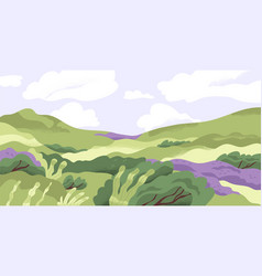 panoramic view summer nature landscape vector image