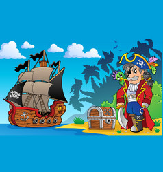 Pirate on coast theme 3 vector