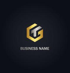 Polygon t initial gold logo vector