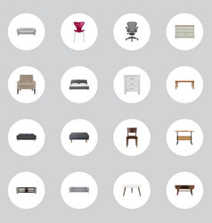 Realistic cupboard stool chair and other vector