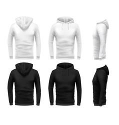 Realistic hoodie mockup black sweatshirt white vector