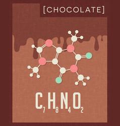 Retro poster chocolate cacao molecule vector