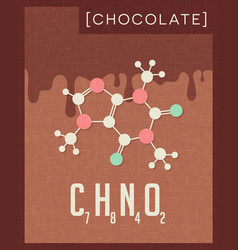 Retro poster of chocolate cacao molecule vector