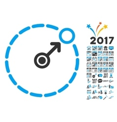 Round area border icon with 2017 year bonus vector