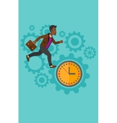 Running man on clock background vector