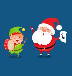 Santa and elf cartoon characters music band icons vector