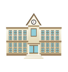 School education building facade clock windows vector