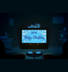 Screen with empty chairs merry christmas and vector