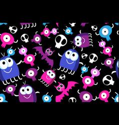 seamless fun halloween pattern monsters vector image
