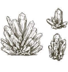 Set crystals drawings vector