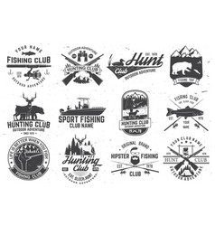 set hunting club and fishing club badges vector image