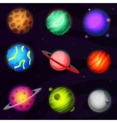 Set of 9 colorful luminous fantastic planets from vector image