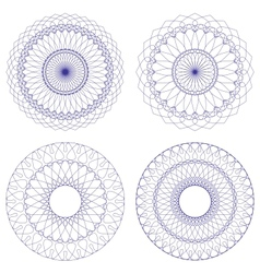 Set of Blue Guilloche Rosettes vector image