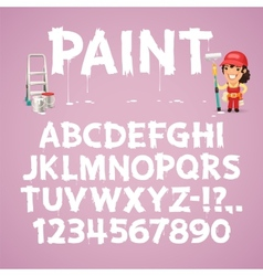 Set of Letters and Numbers Painted on a Wall vector image
