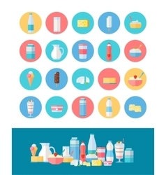 Set of Milk Products Icons in Flat Design vector
