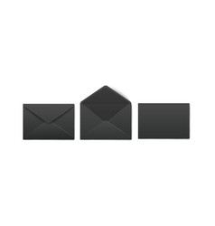 set opened and closed realistic black post and vector image