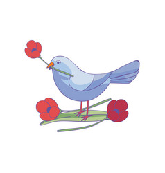 small bird with flower in beak standing on green vector image