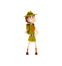 Smiling boy scout character in uniform standing vector