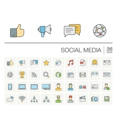 Social media and network color icons vector image