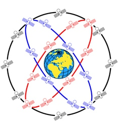 space satellites in eccentric orbits around the ea vector image