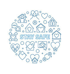 Stay safe linear concept circular simple vector