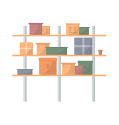 storehouse stand with delivery boxes vector image