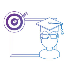student graduated with chalkboard and target vector image