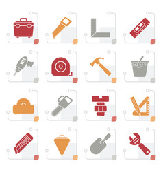 stylized construction objects and tools icons vector image