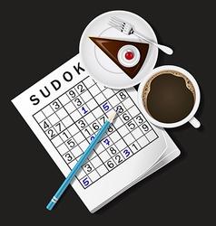 Sudoku game mug of coffee and cho vector