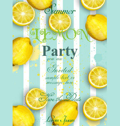 Summer lemons party invitation juicy vector
