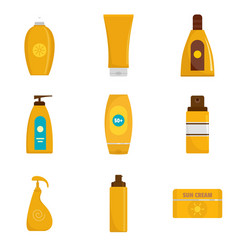 Sunscreen protection bottle icons set flat style vector