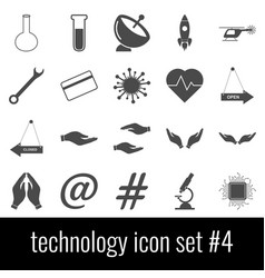technology icon set 4 gray icons on white vector image