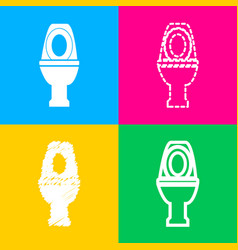 toilet sign four styles of icon on vector image