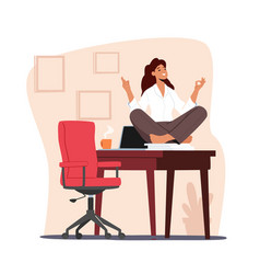 Tranquil female character doing yoga in office vector