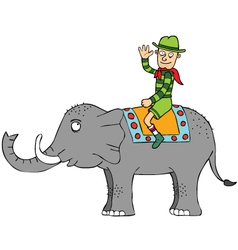 Travelling with elephant vector image