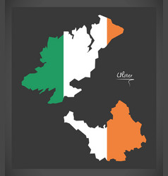 Ulster map ireland with irish national flag vector