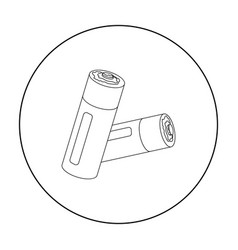 Used batteries icon in outline style isolated on vector