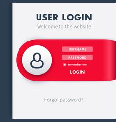 User Login window template login page for website vector image