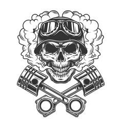 vintage monochrome biker skull vector image